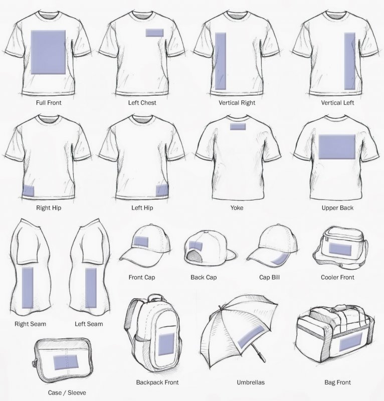 Standard T Shirt Dimension And Placement Chart: Screen Printing